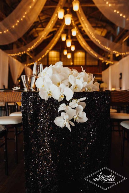 Flora Nova Design Seattle Luxury White Wedding Sodo Park Orchid head table
