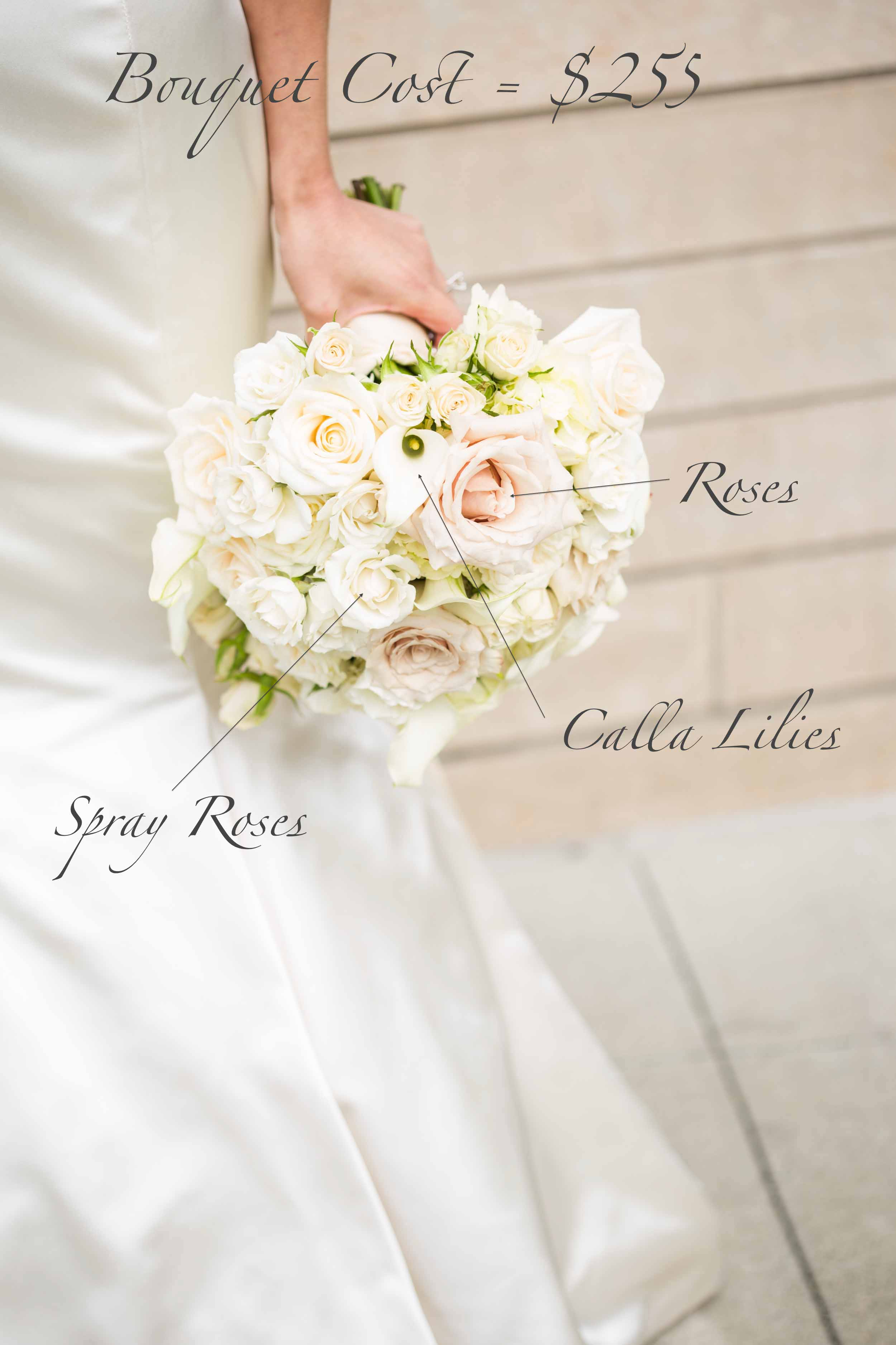 Bridal Bouquet Pricing of a rounded white bouquet of all white and ivory roses