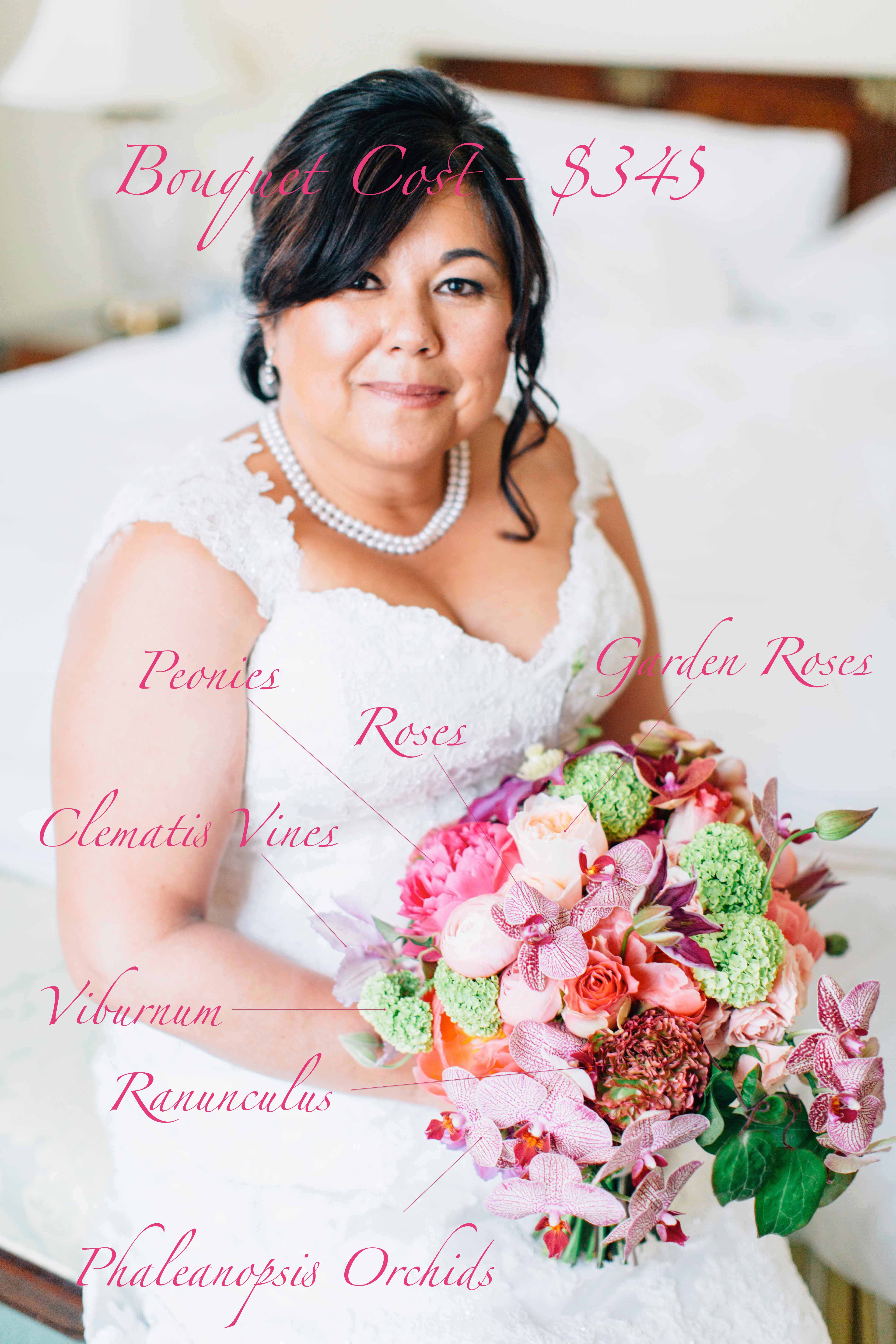 Bridal bouquet pricing and recipe of elegant red and pink bouquet with roses, peonies, viburnum, orchids, ranunculus - by Flora Nova Design Seattle