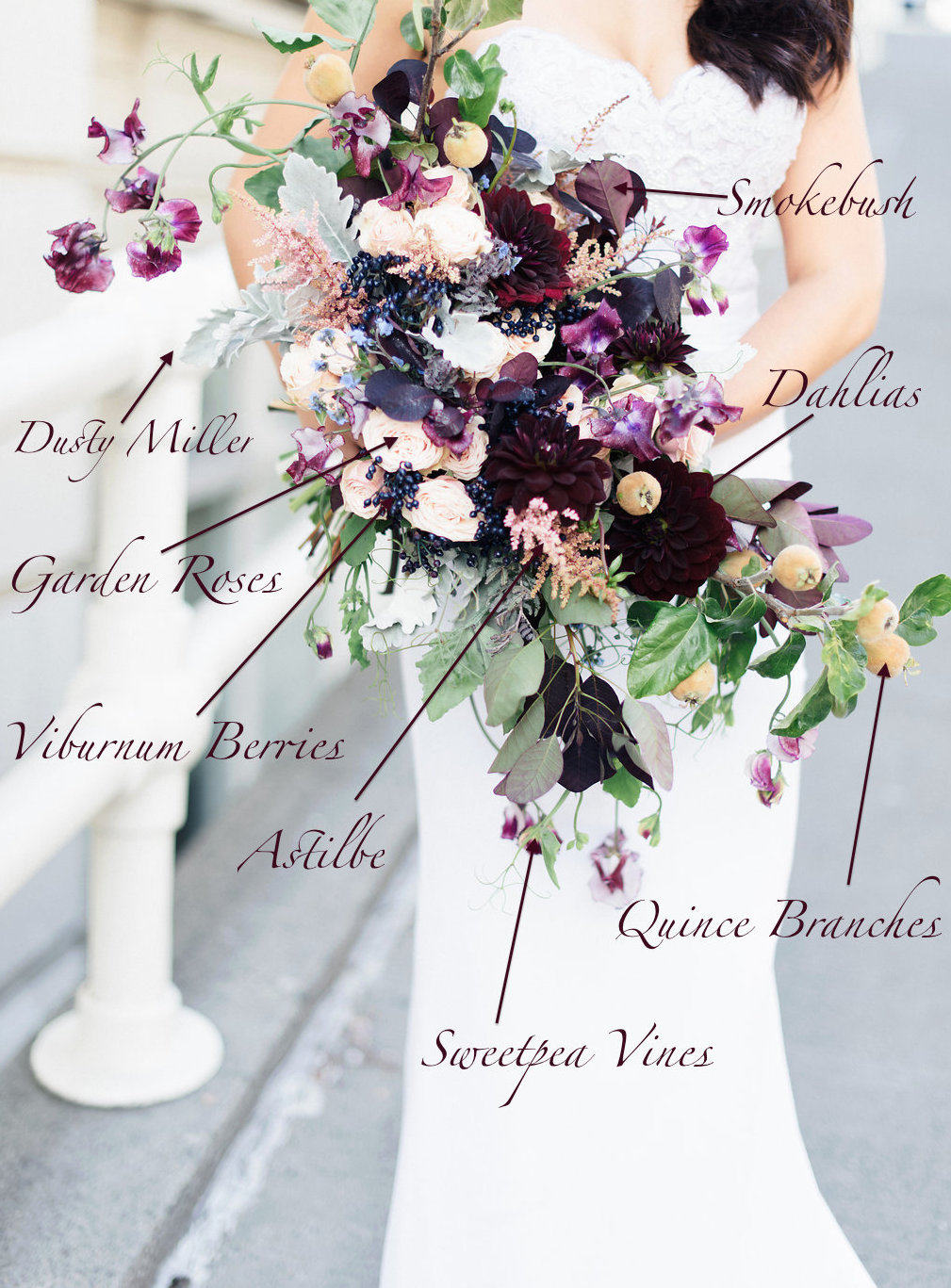 Fall flowers bridal bouquet recipe and bridal bouquet flowers of purple roses, dark dahlias, fruit branches, blooming clematis- Flora Nova Design Seattle