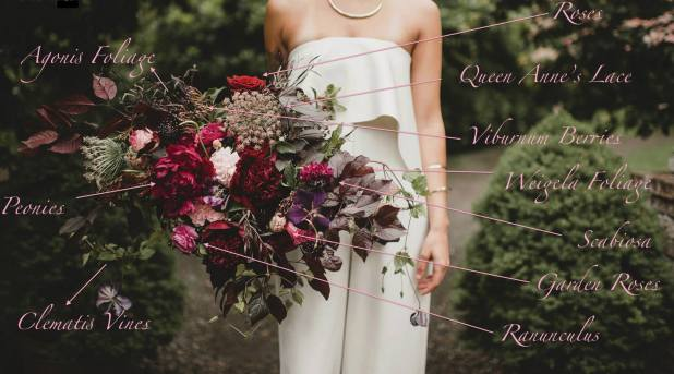 Recipe of bridal bouquet flowers: dark peonies, roses, weigela, agonis, clematis - by Flora Nova Design Seattle