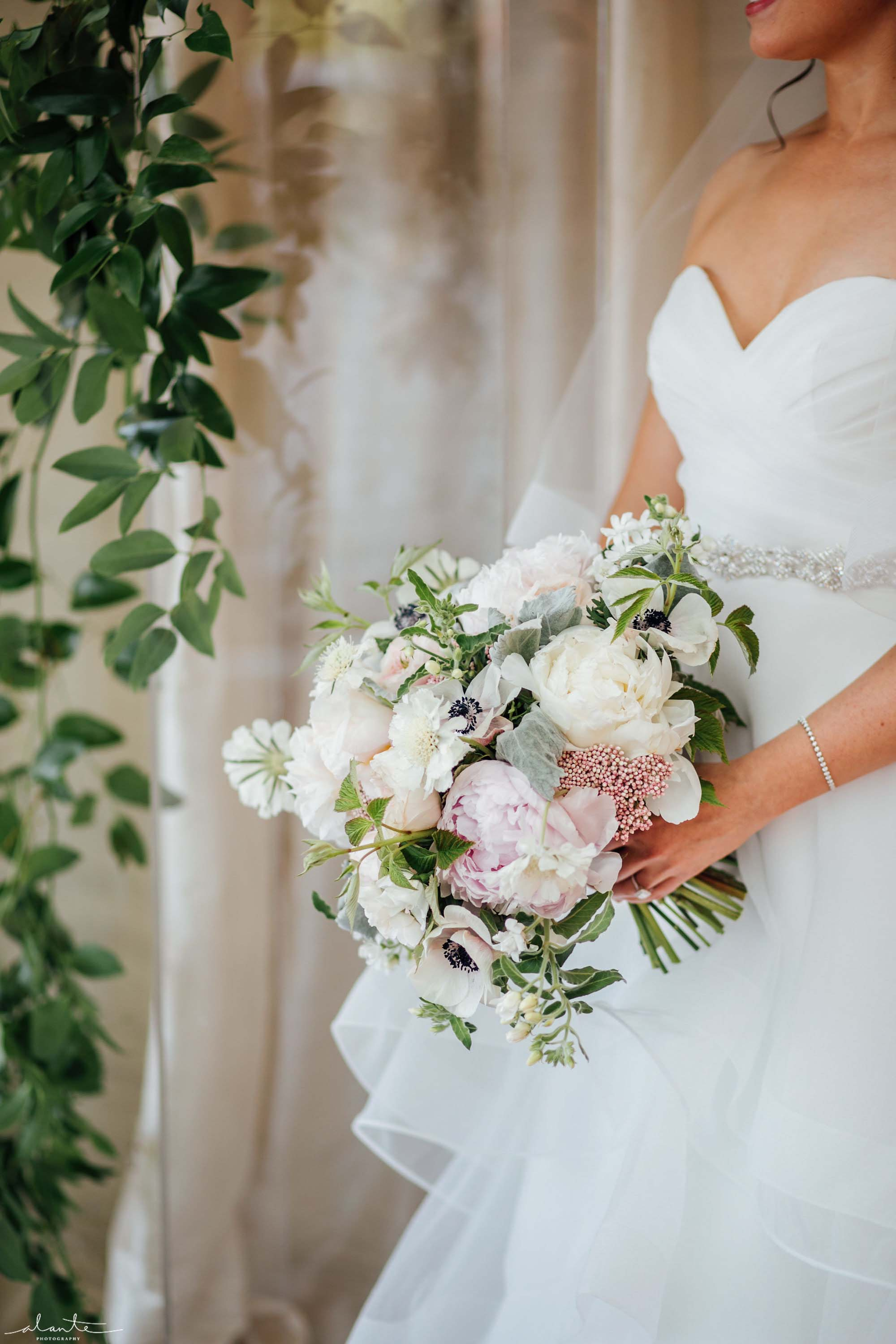 Romantic garden-style wedding bouquet with white and pink peonies, Olympic Rooftop Pavilion wedding with pink peonies by Flora Nova Design Seattle