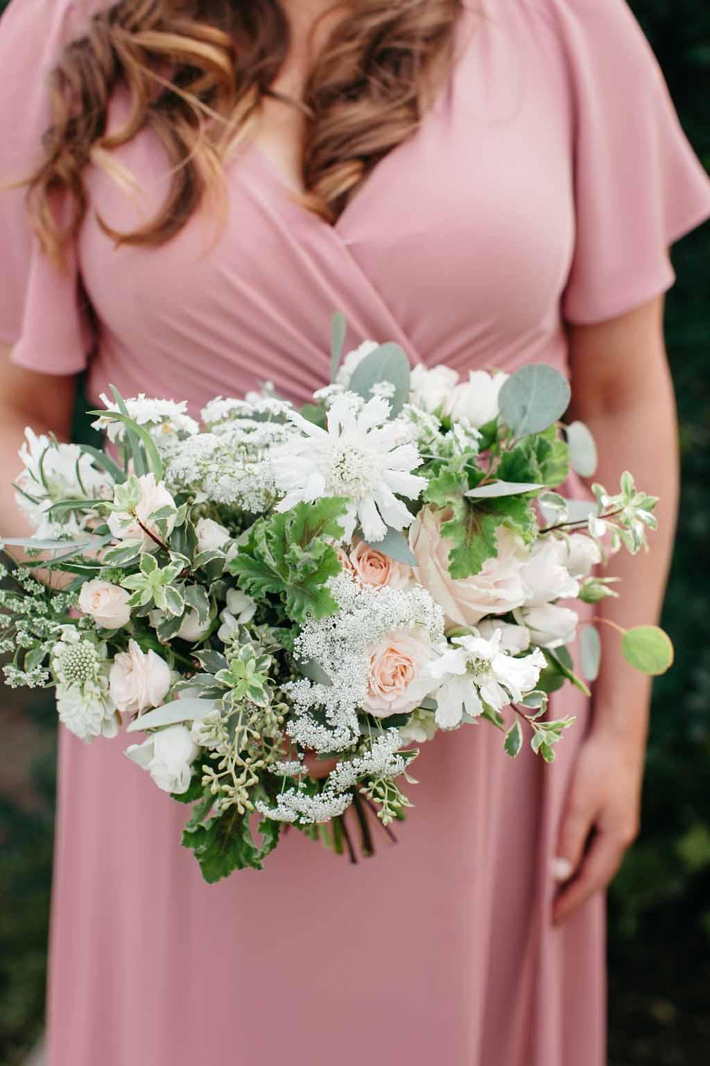 Bride's maid's bouquet with blush garden roses and greenery - Elegant Seattle Garden Wedding by Flora Nova Design Seattle