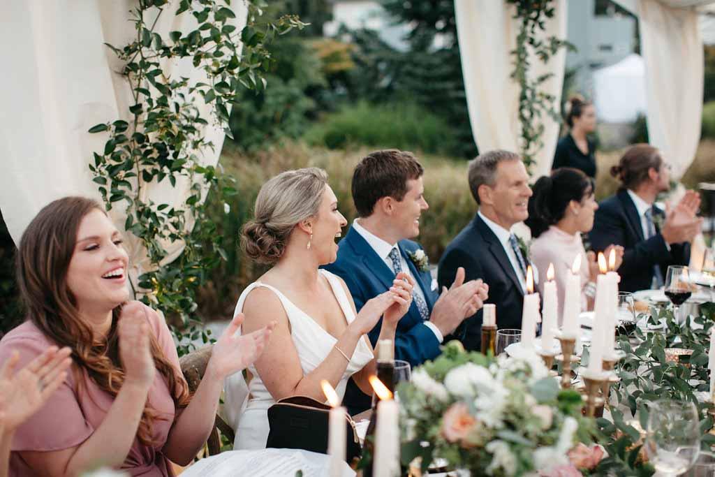 Wedding reception moods - bride and groom at their wedding reception - Elegant Seattle Garden Wedding by Flora Nova Design Seattle