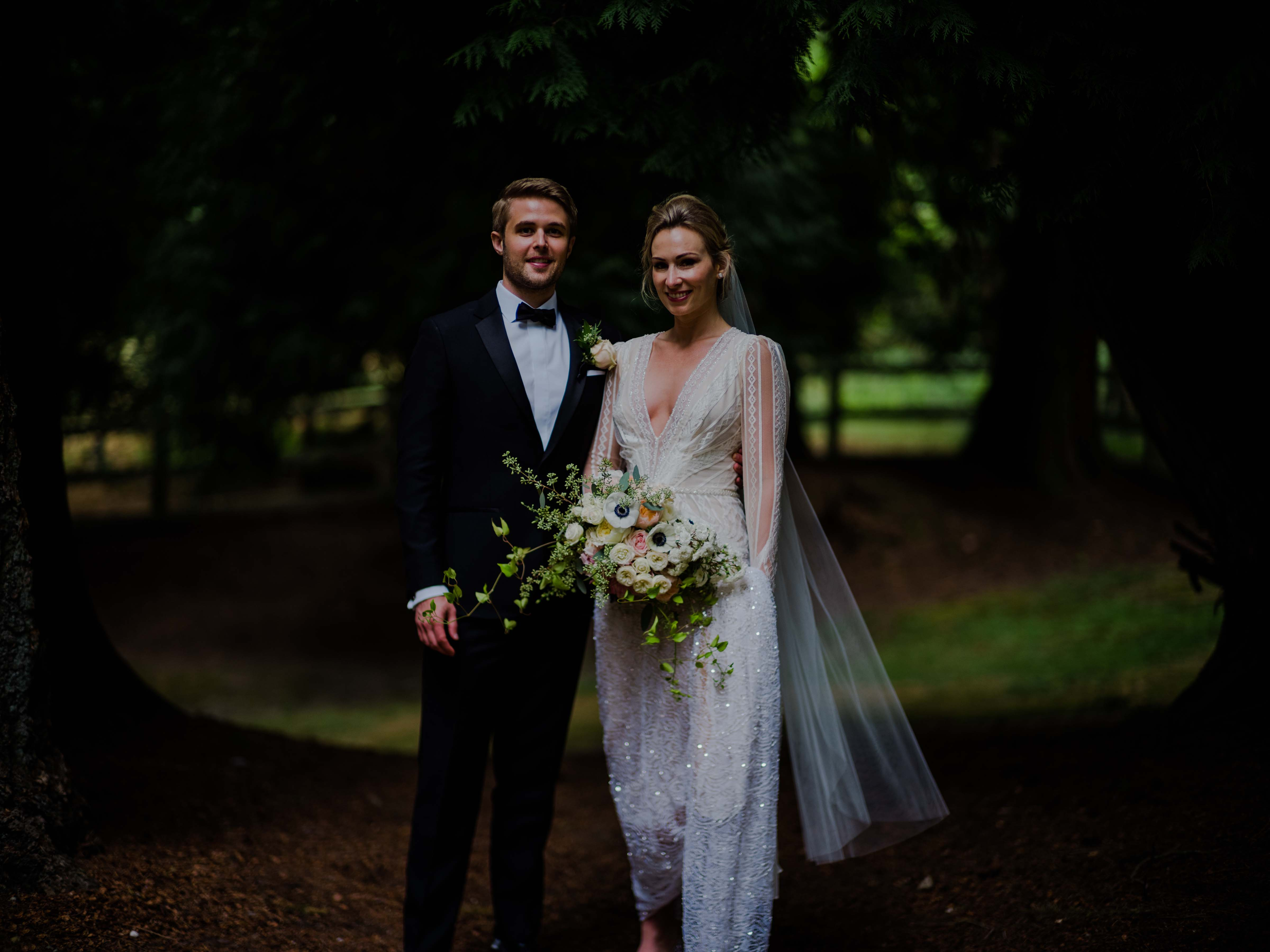 Bride and groom before their wedding at Chateau Lill, designed by Flora Nova Design