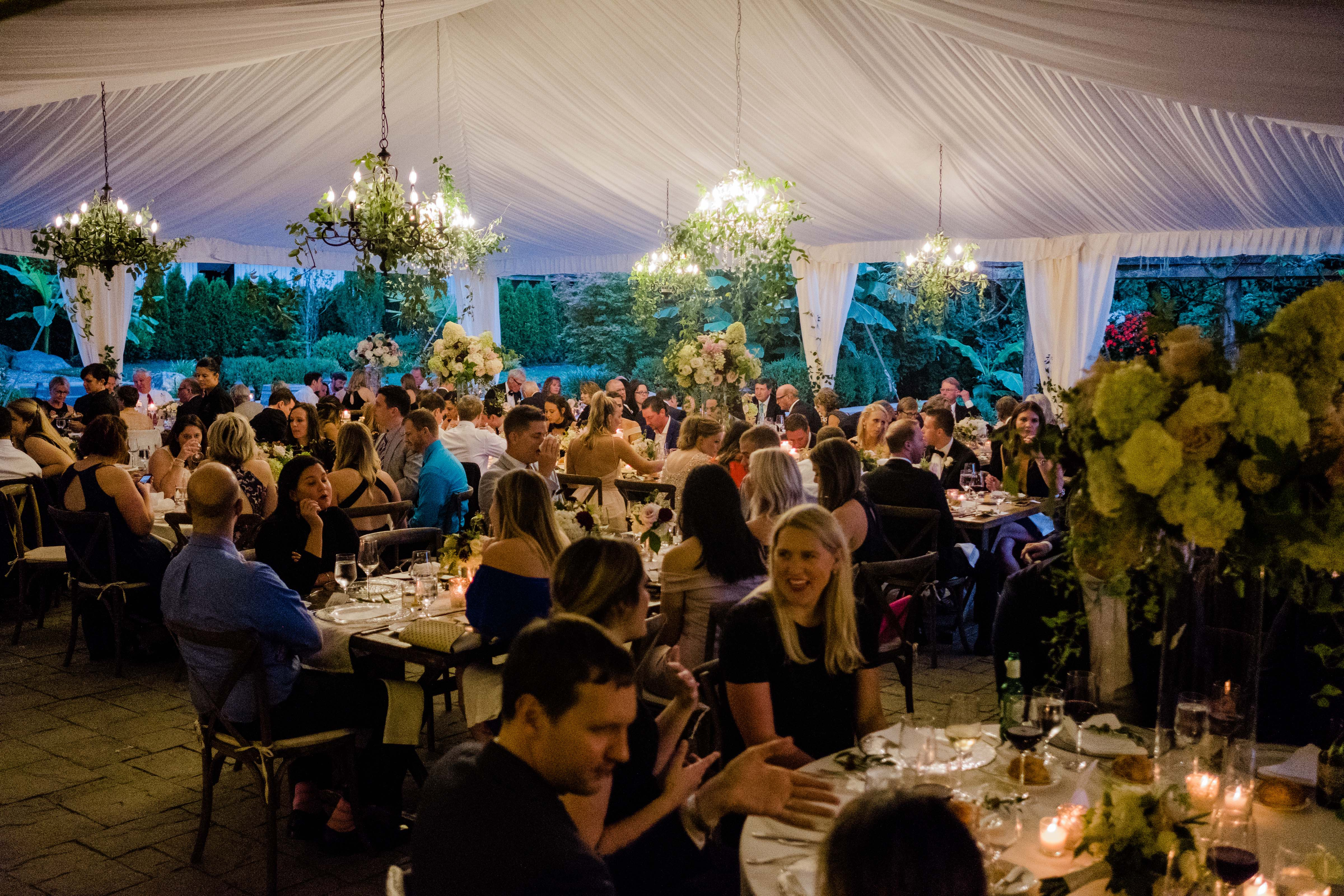 festive dinner reception at Chateau Lill