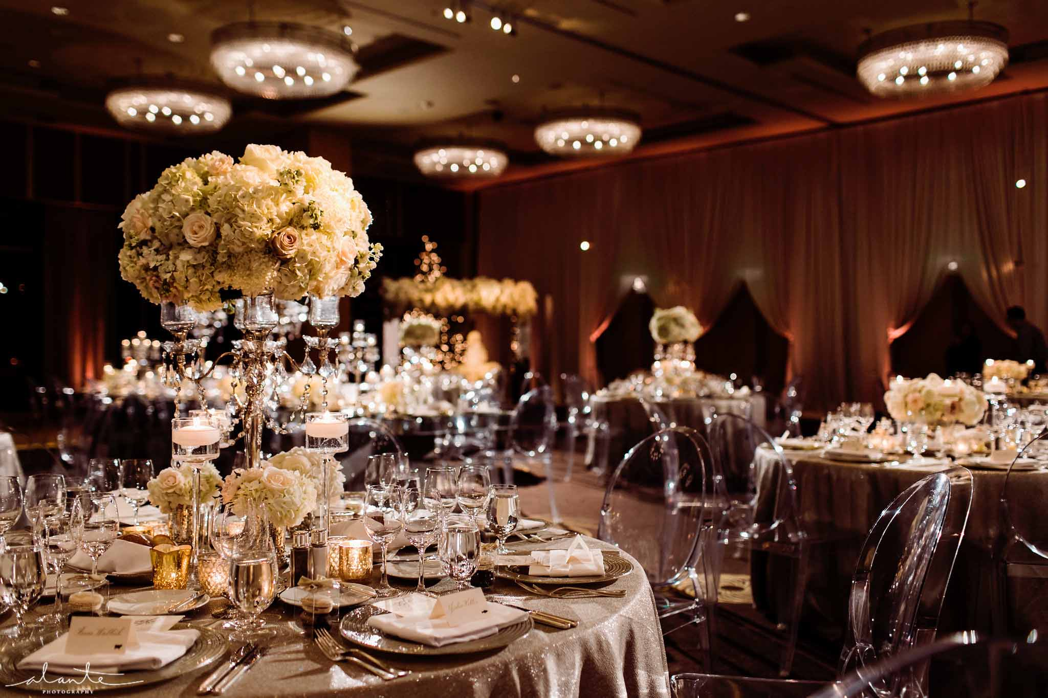 Four Seasons Seattle winter wedding reception - Luxury Winter Wedding at the Four Seasons by Flora Nova Design Seattle