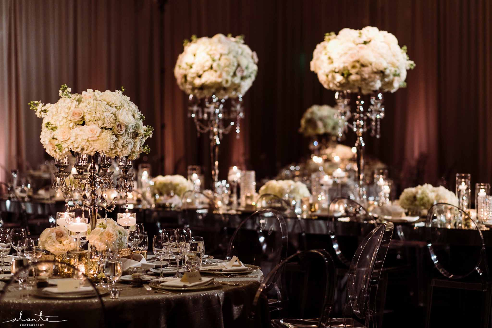 Tall white floral centerpieces on silver crystal candelabras - Luxury Winter Wedding at the Four Seasons by Flora Nova Design Seattle