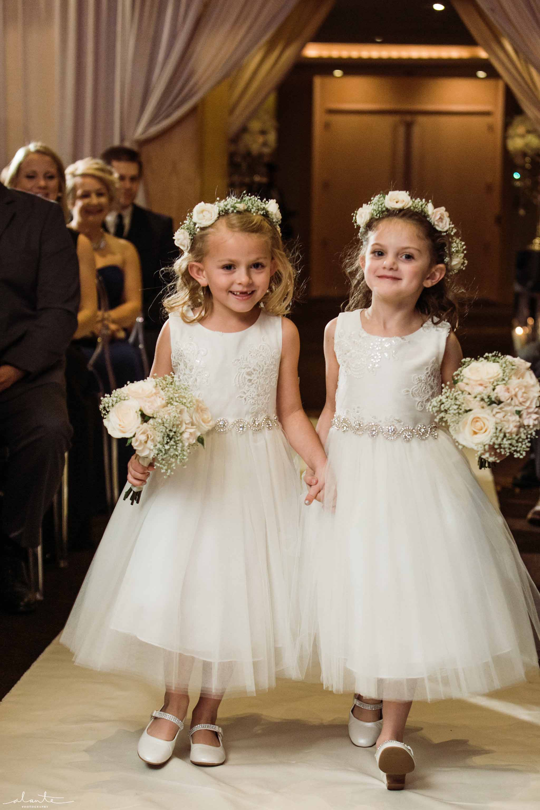 Wedding flower girls in all white - Luxury Winter Wedding at the Four Seasons by Flora Nova Design Seattle