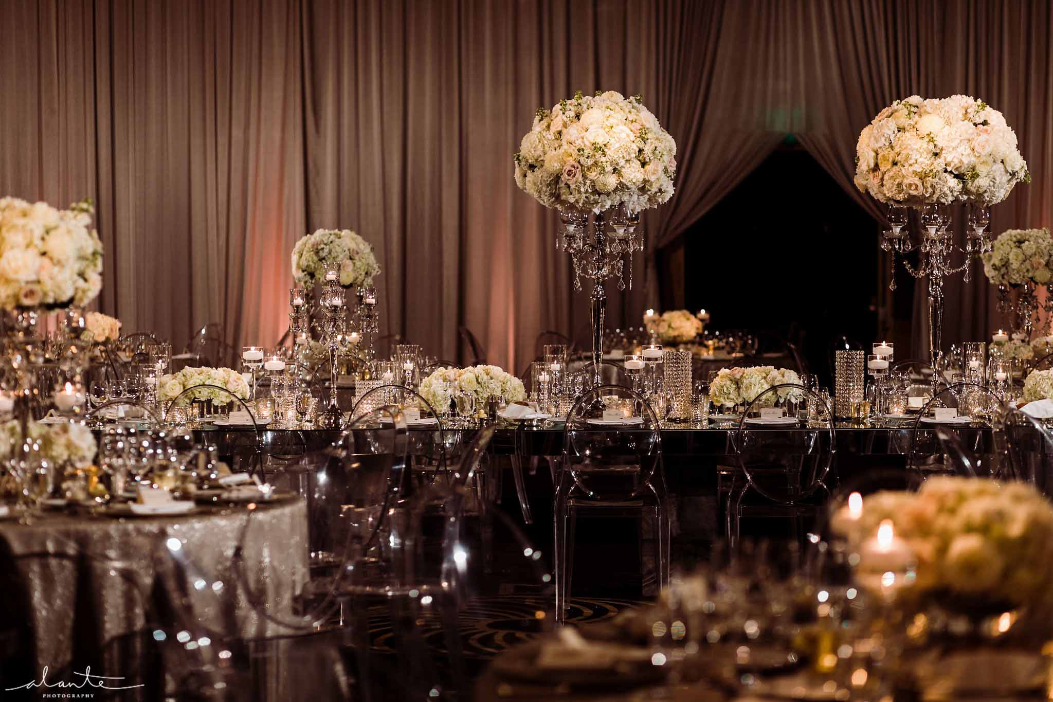 Four Seasons Seattle wedding with white centerpieces, designed by Flora Nova Design Seattle
