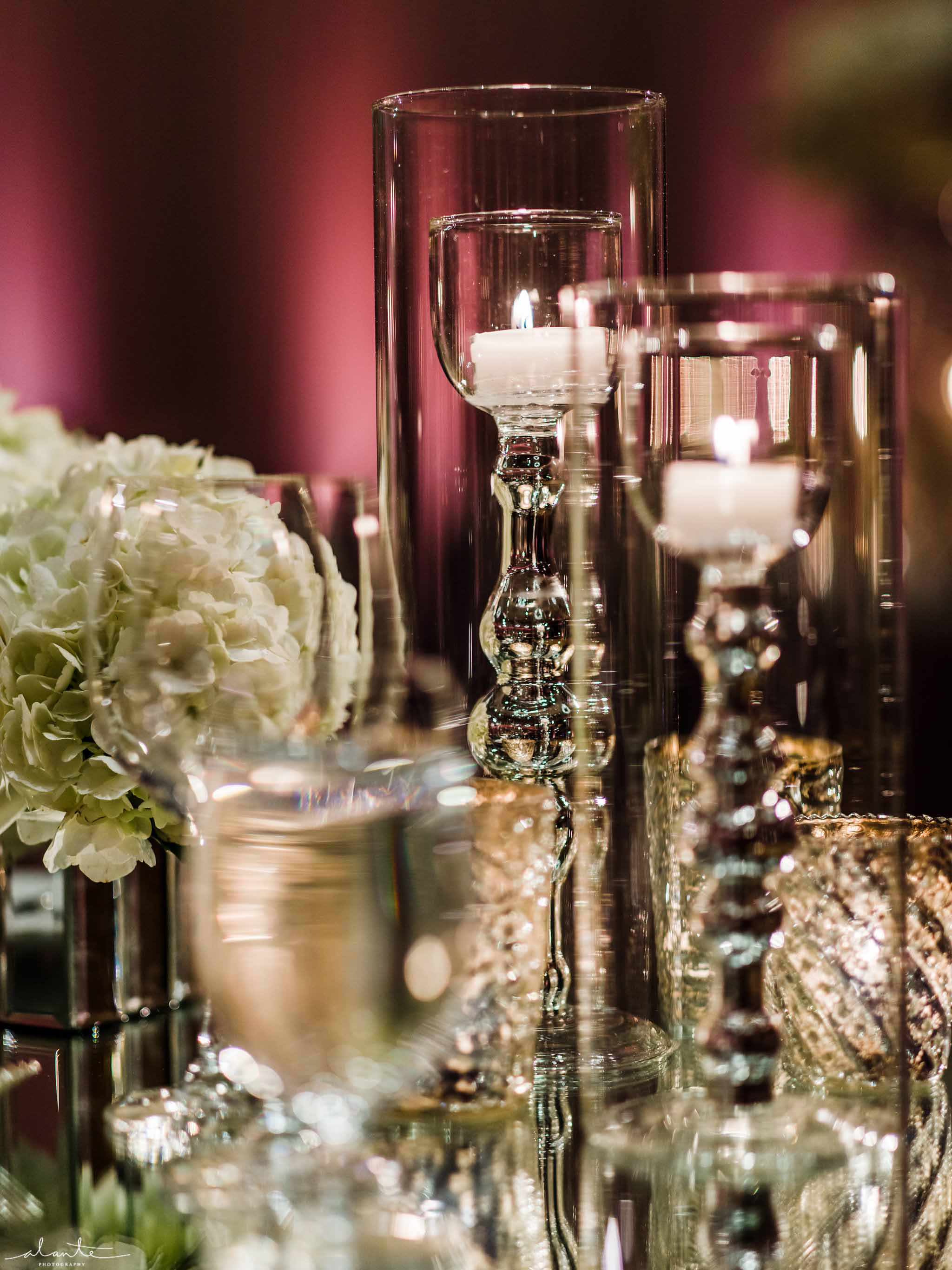 candles for winter wedding at Four Seasons Hotel Seattle