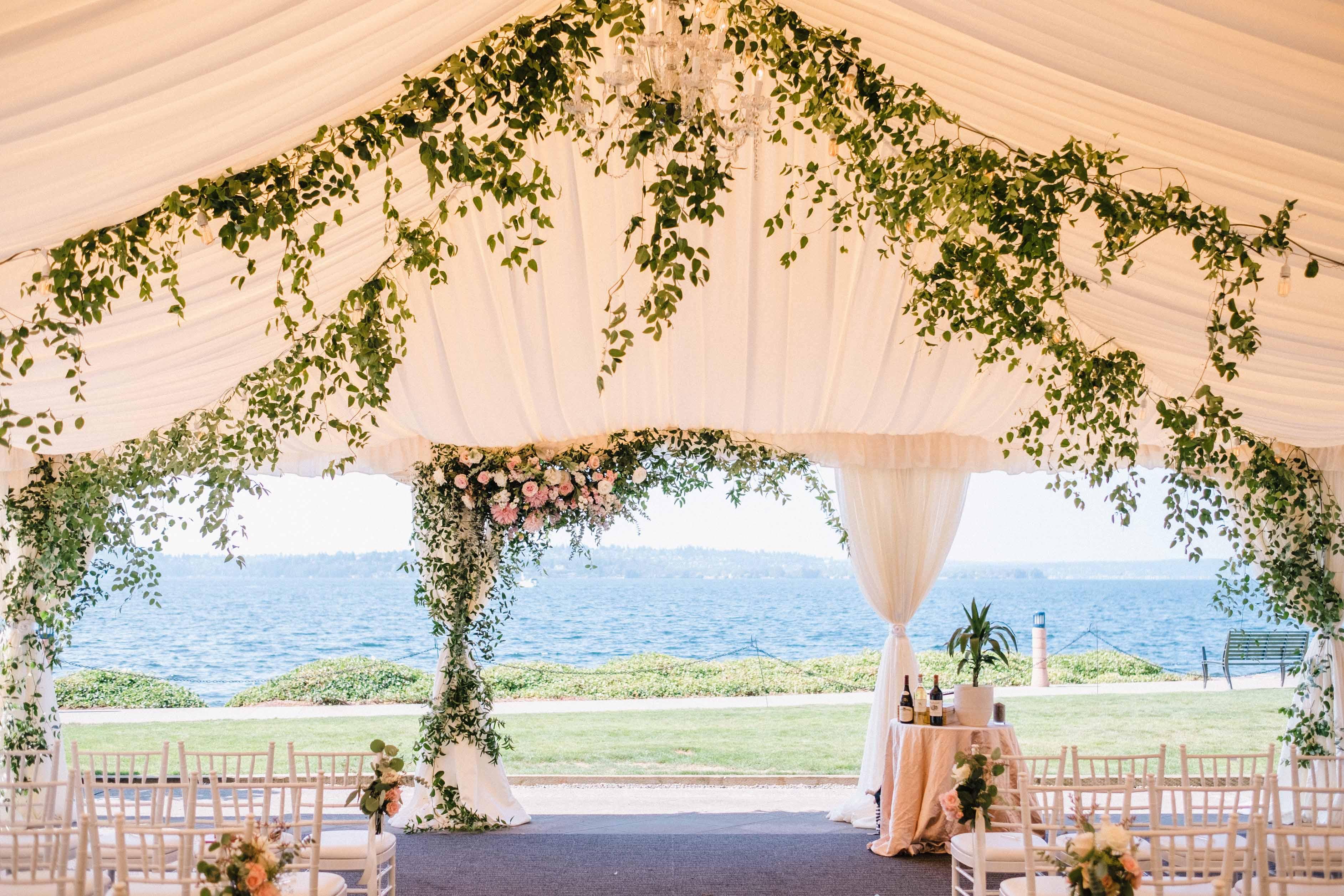 Ceiling greenery at the Woodmark Hotel - Woodmark Hotel Wedding by Flora Nova Design Seattle