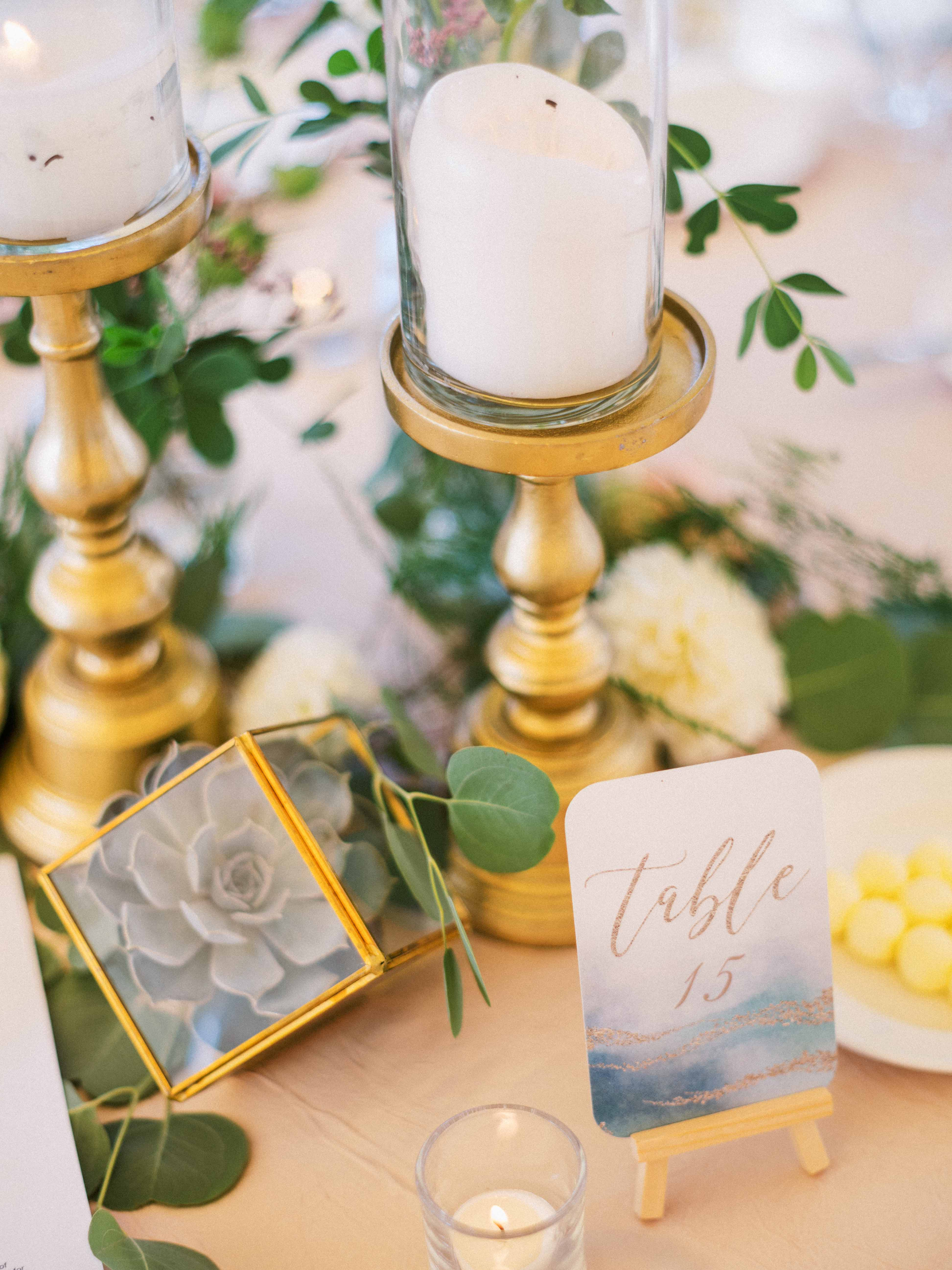 Centerpiece detail with candles - Woodmark Hotel Wedding by Flora Nova Design Seattle