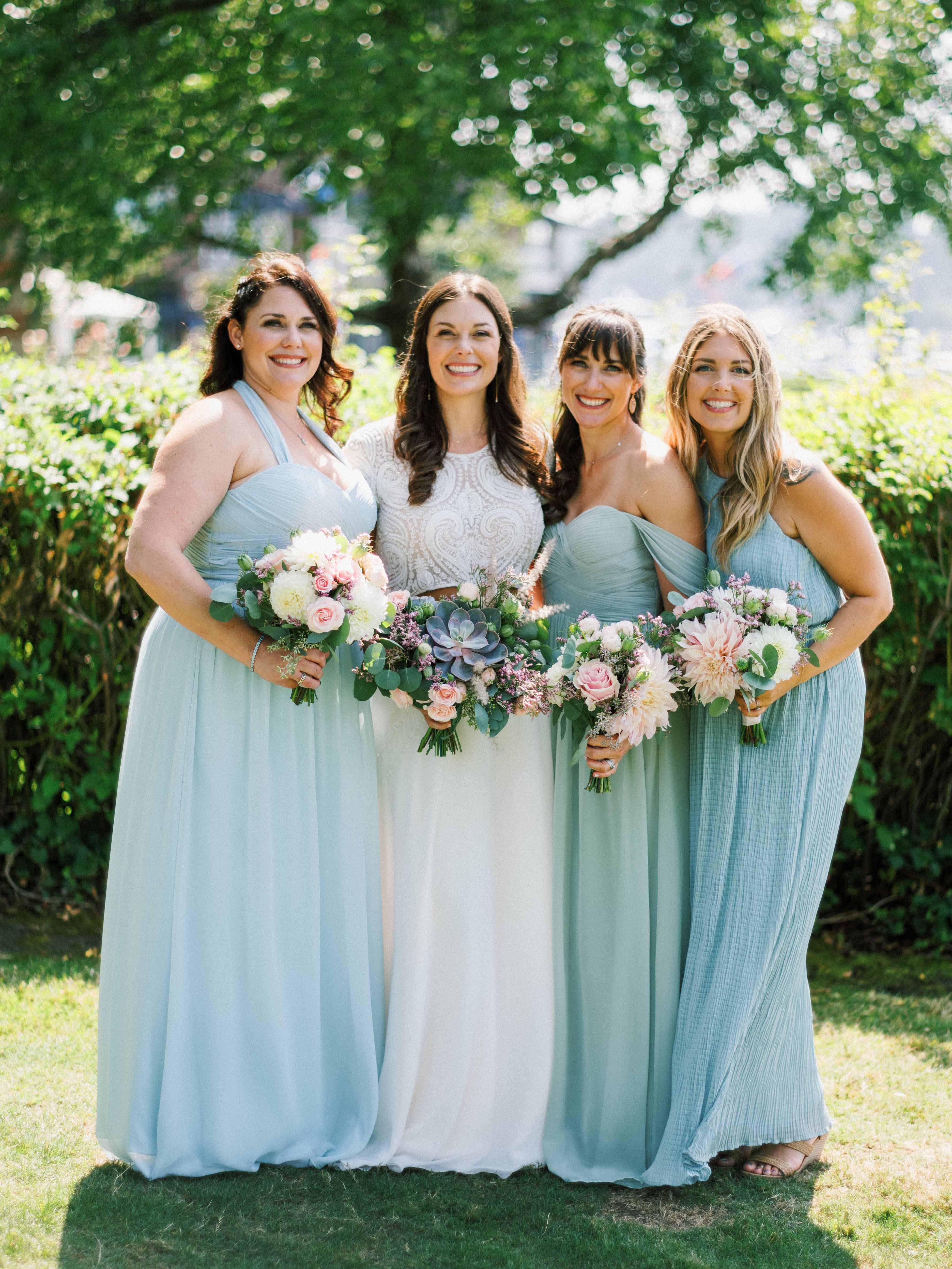 Bride with her bridesmaids - Woodmark Hotel Wedding by Flora Nova Design Seattle