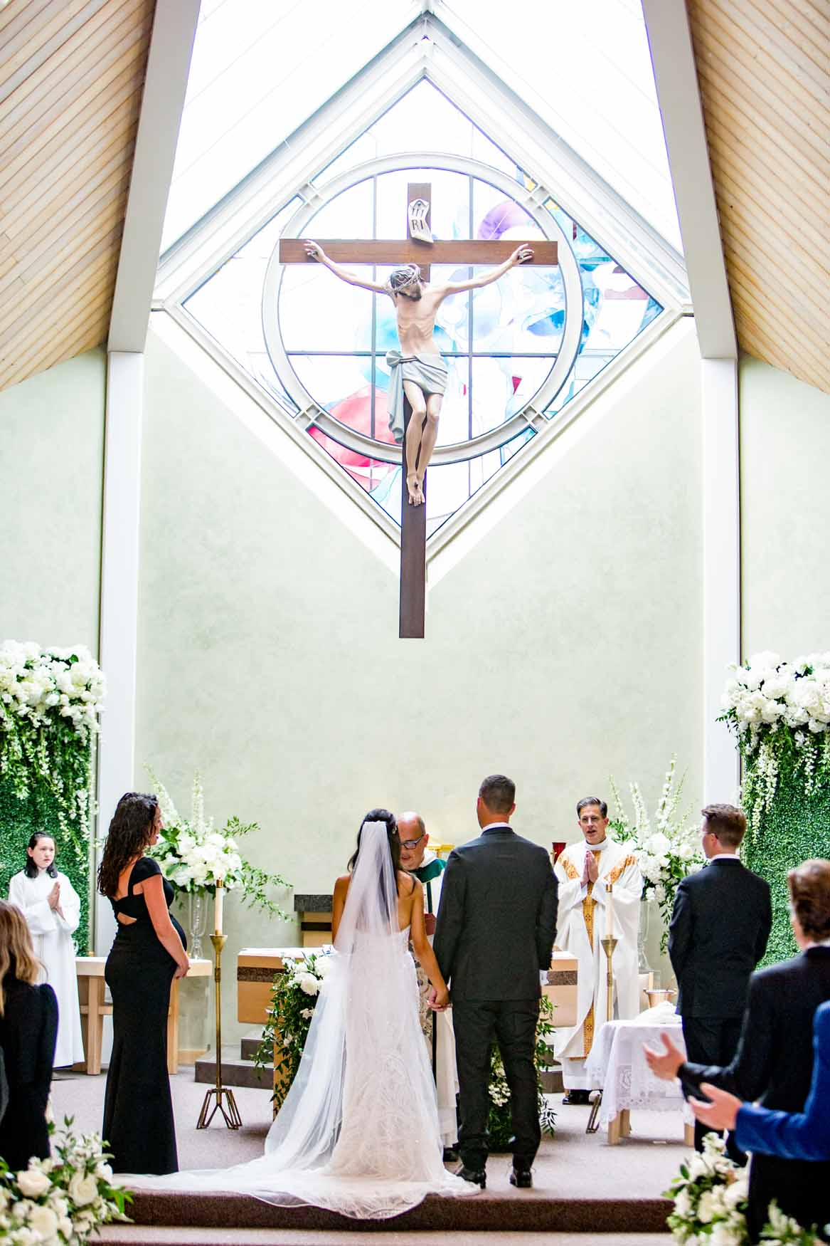 Bride and groom getting married at church - Elegant Summer Private Estate Wedding. Flora Nova Design Seattle