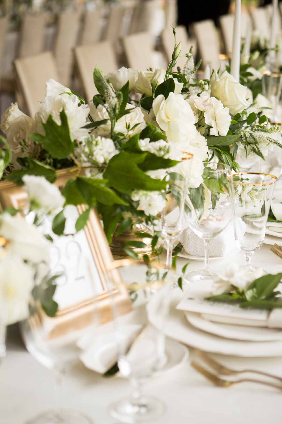 Centerpieces with white flowers on long tables - Elegant Summer Private Estate Wedding. Flora Nova Design Seattle