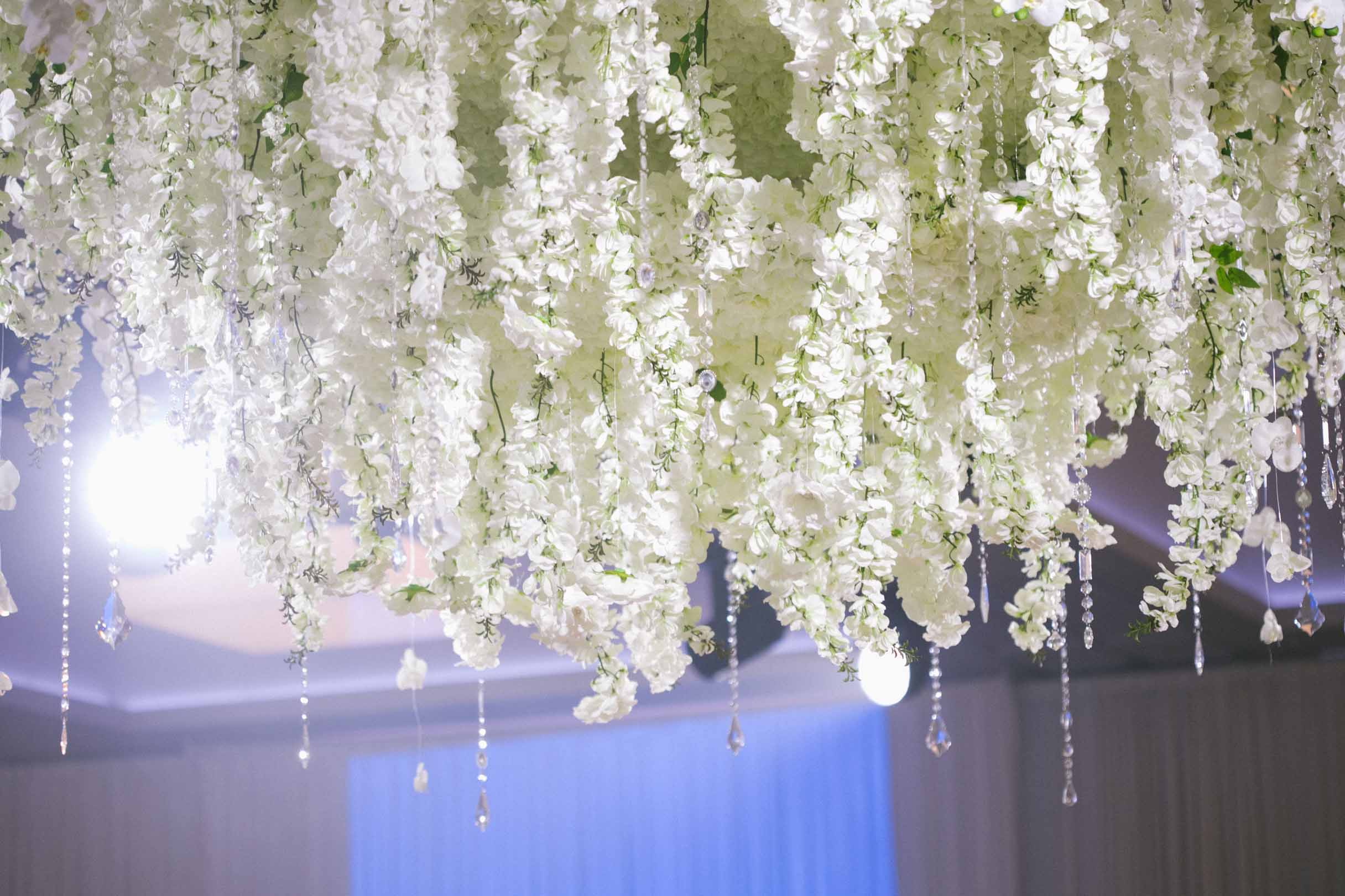luxurious floral chandelier of white flowers