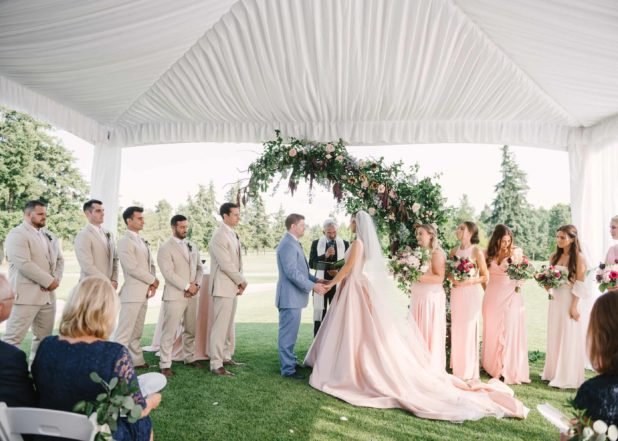 wedding ceremony, tent wedding, Seattle wedding, Overlake Country Club