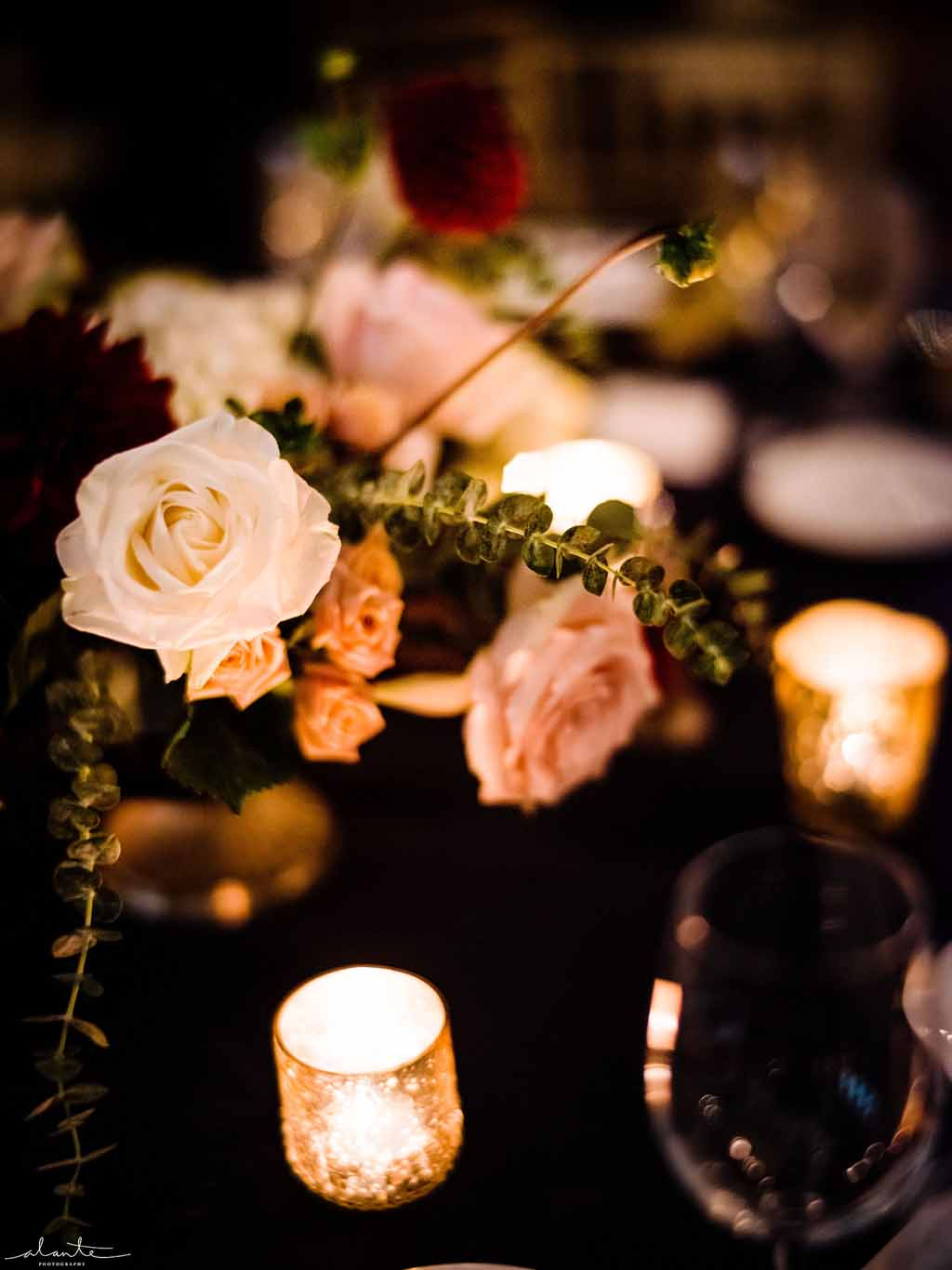 A centerpiece by candlelight