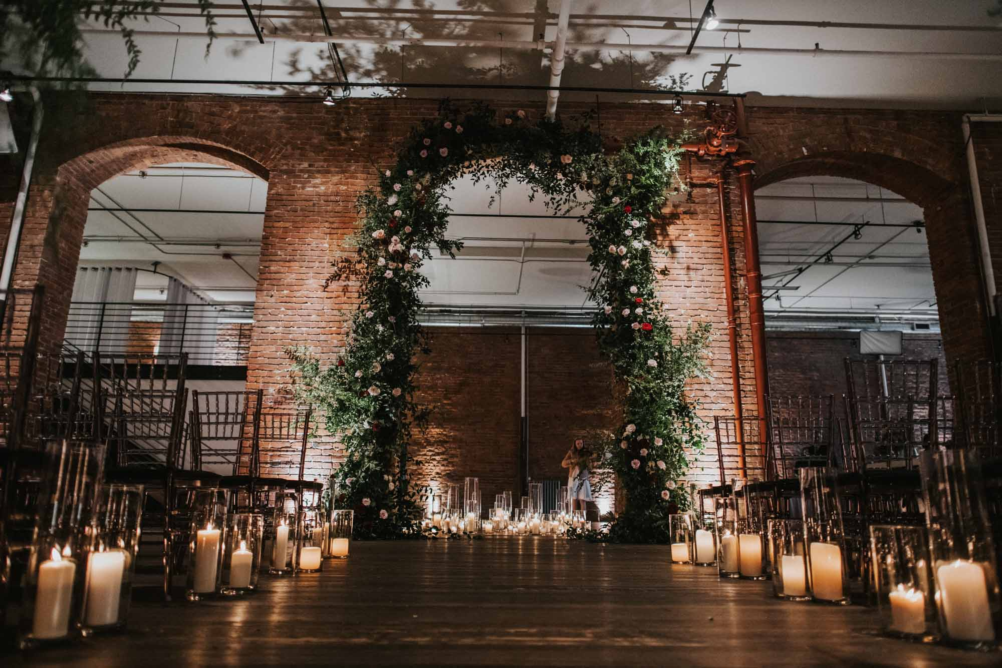 ceremony arch in brick archway