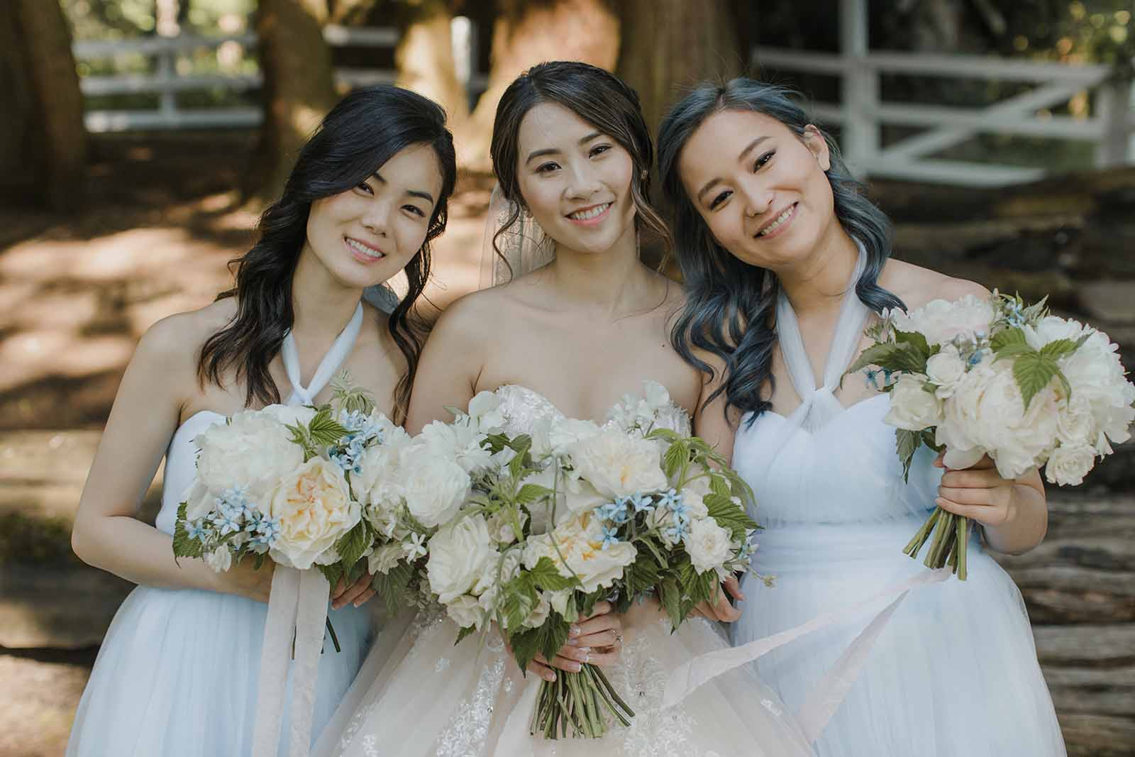 Bridal party in cream and blue, flowers designed by Flora Nova, Seattle.