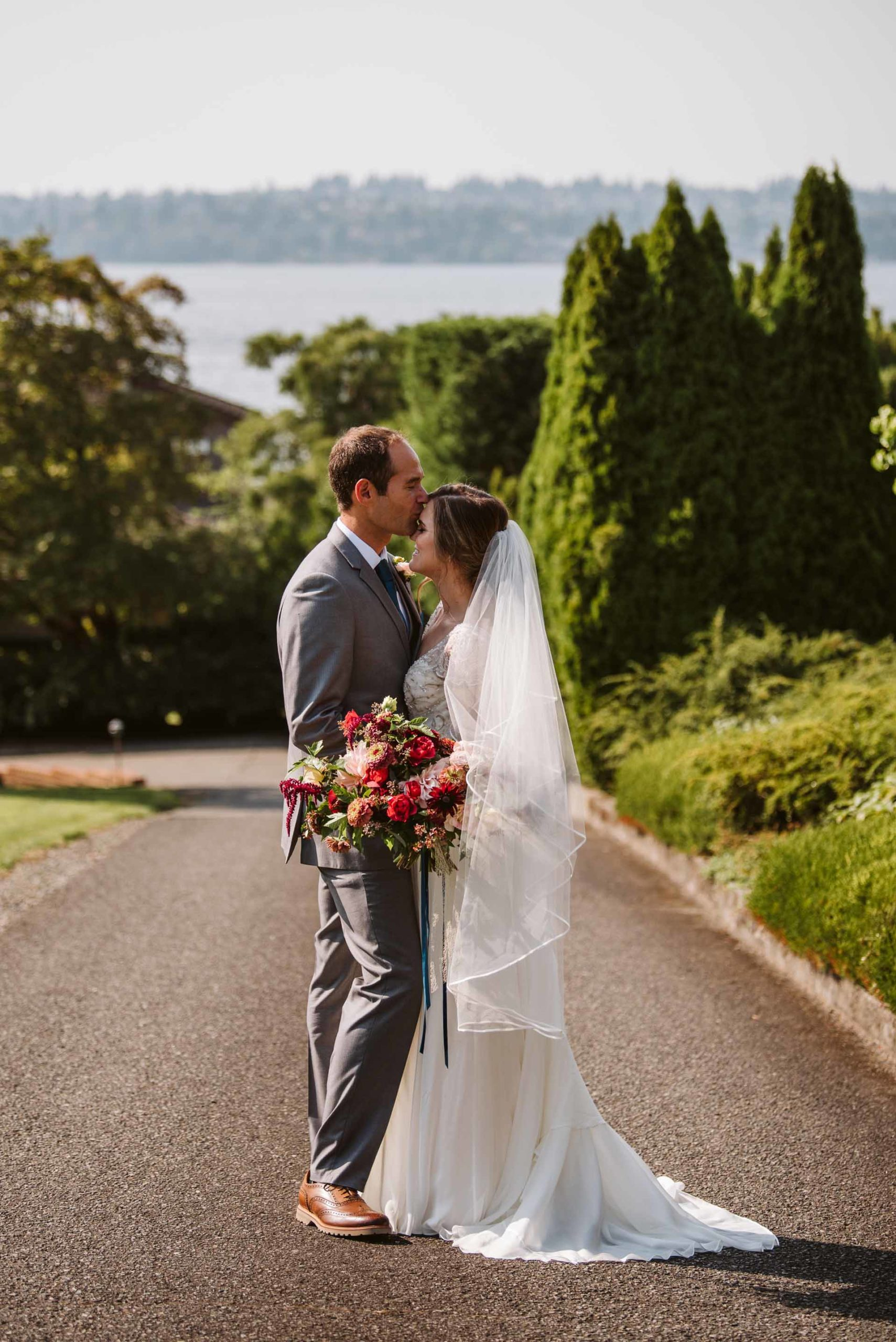 Bride and groom at their Intimate summer garden wedding
