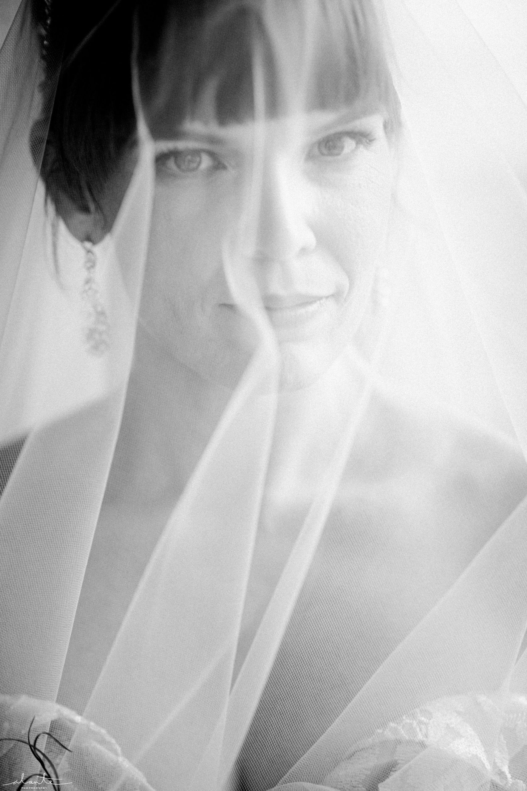 Black and white bridal portrait with veil at a winter wedding.