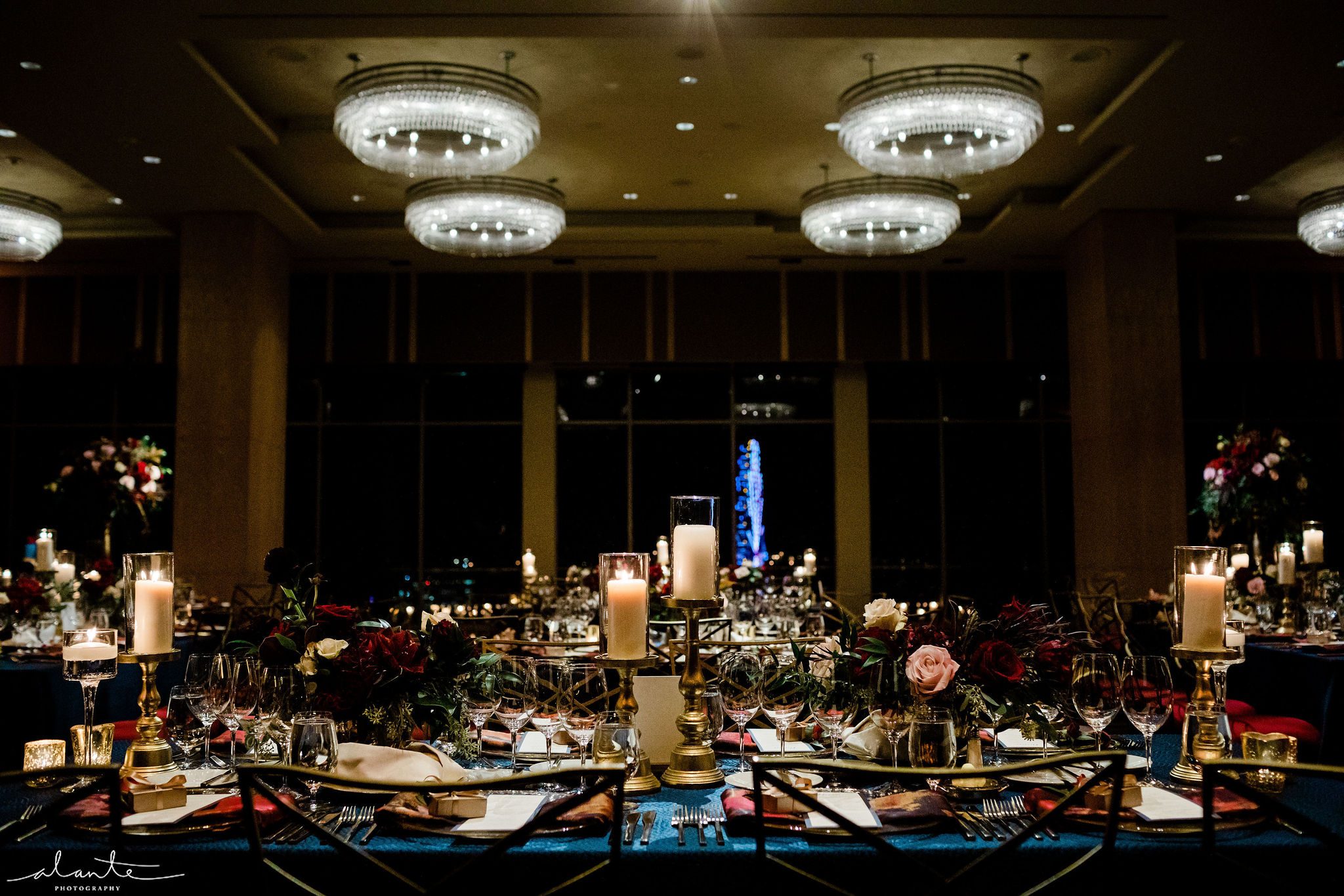 Red winter wedding ballroom reception by Flora Nova Design Seattle