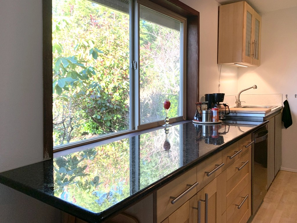 kitchen redwood guesthouse with marble countertop