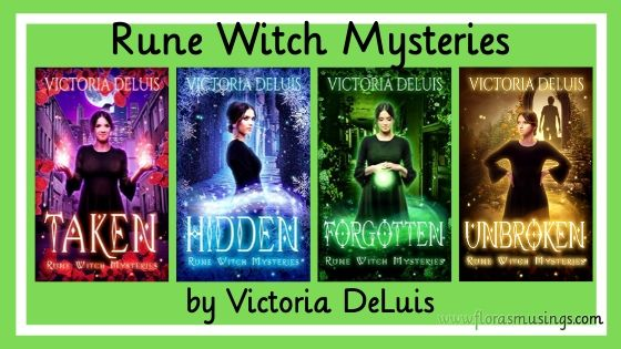 book series banner for Rune Witch Mysteries by Victoria DuLuis