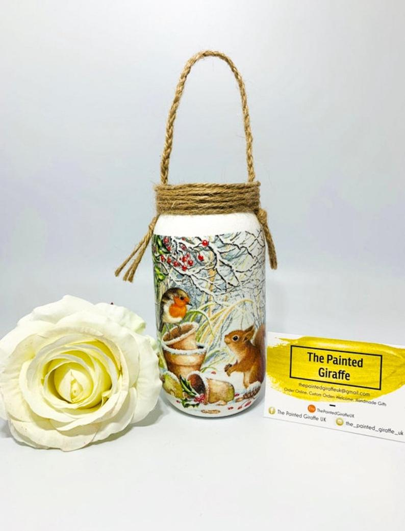 image for Christmas Robin glass jar with rop handles from The Painted Giraffe on Etsy 10.00