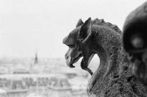 grayscale photo of animal statue