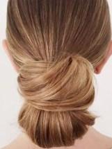 chignon bas blond , Florence coiffure artigues domicile