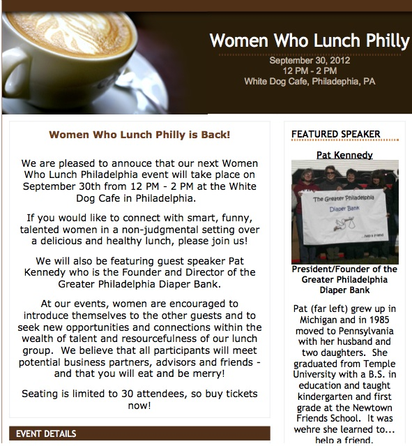 Women Who Lunch Philly - September 30, 2012