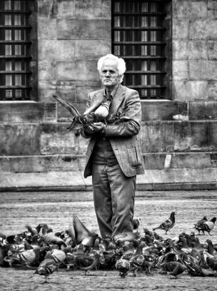 Man with pigeons