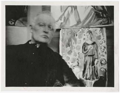 Self-Portrait in Front of Two Watercolours II. Ekely c 1930