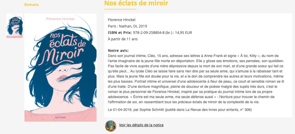 Nos éclats de miroir Florence Hinckel La Revue des livres pour enfants