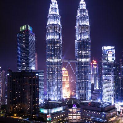 Petronas towers under the rain