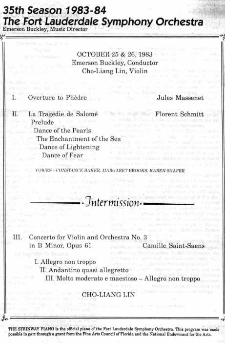 Fort Lauderdale Symphony program Florent Schmitt Emerson Buckley 1983