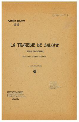 Florent Schmitt: La Tragedie de Salome (score cover)