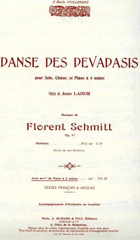 Florent Schmitt Danse des Devadasis score