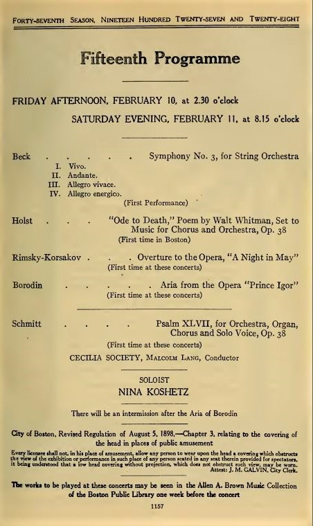 Florent Schmitt Psalm 47 Boston Symphony Orchestra 1928
