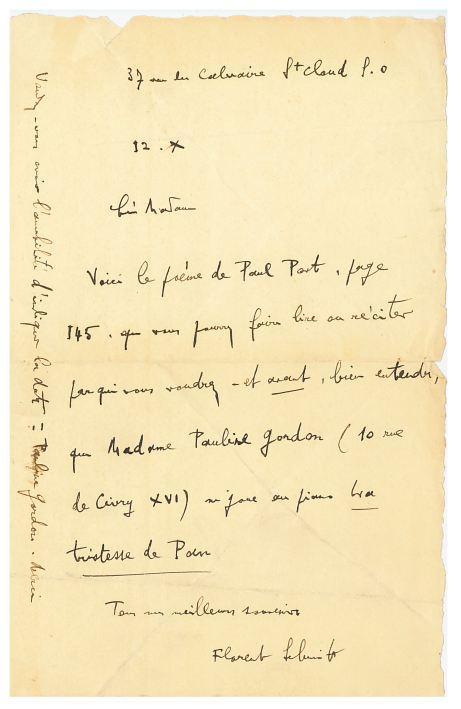 Letter from Florent Schmitt discussion Mirages (Tristesse de Pan)