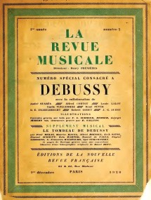 La Revue Musicale December 1920 issue devoted to Claude Debussy
