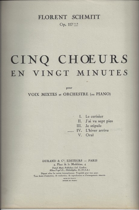 Late-career luxuriance: Florent Schmitt's score to Cinq chorales en vingt minutes (1951).