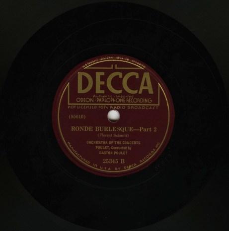 Florent Schmitt Ronde burlesque Gaston Poulet Odeon Decca