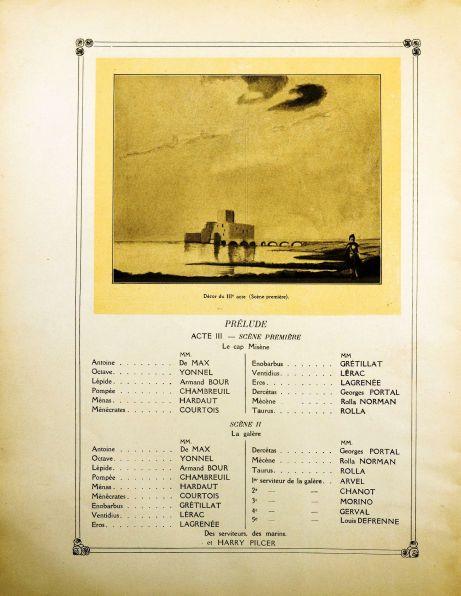 Antoine et Cleopatre program booklet 1920