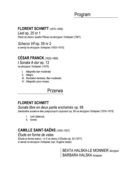 Florent Schmitt Halska 2014 Program