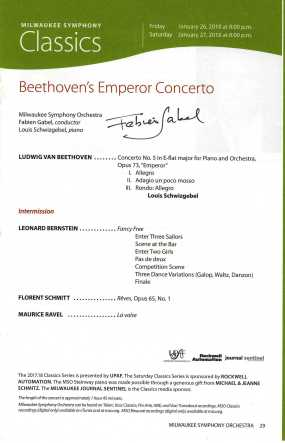 Milwaukee Symphony Orchestra Gabel Schmitt January 2018