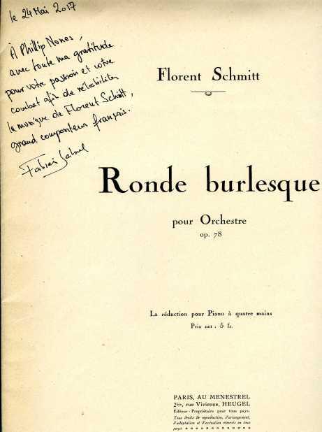 Florent Schmitt Ronde burlesque score
